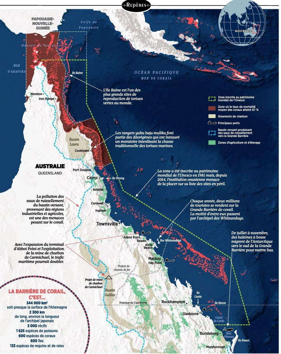 Carte Australie Grande Barriere De Corail.Planete Gaia Monde Animal Biodiversite Marine
