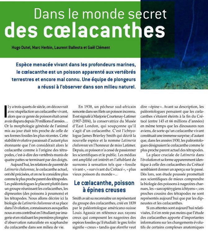 rencontre avec le coelacanthe