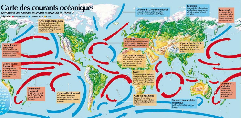 """carte des courants marins Planète GAÏA  > Climatologie  > Océanographie  > Les Courants """" title=""""carte des courants marins Planète GAÏA  > Climatologie  > Océanographie  > Les Courants """" width=""""500″ height=""""500″> </p> <p><P align=center><img src="""